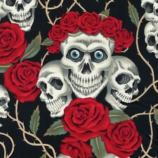 Alexander Henry Gothic Rose Tattoo White Skulls & Red Roses on Black Fabric - FQ