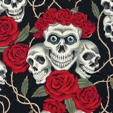 Alexander Henry Gothic Rose Tattoo White Skulls & Red Roses on Black Fabric - FQ