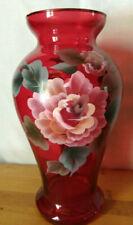 Vintage Hand Blown Handpainted Ruby Red Floral Art Noveau Glass Vase Flower