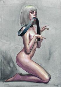 original painting A3 359ShA art samovar Realism Watercolor female nude Signed