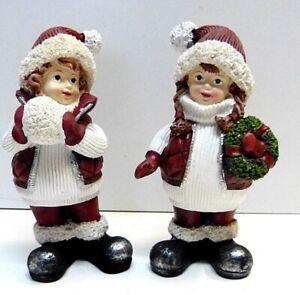 2 Stk. WINTER KINDER Polyresin Figuren 17cm Deko,Retro, Weihnachten,  Restposten