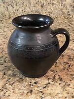 "Kovacs Hungary Ceramic Art Pottery Black Vase Jug Artist Signed 6.5"" Hand Made"