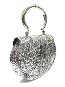 Ethnic White Metal clutch Vintage clutch Brass metal bag Hand clutch Bridal bag