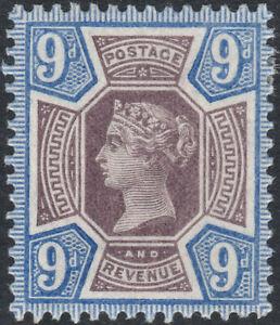 1887 JUBILEE SG209 9d DULL PURPLE & BRIGHT BLUE MINT HINGED SHADE (K38(2)