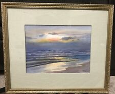 Vintage  Original Irish Seascape In Period Frame Signed . Watercolor