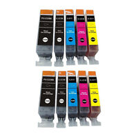 10 PACK PGI 220BK CLI 221 for Canon PIXMA IP3600 IP4600 MP560 MP980 printer