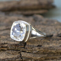 Rock Crystal Gemstone 925 Sterling Silver Artisan Handmade Gift Ring Jewelry