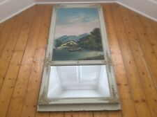 1830's Trumeau Oil Canvas Distressed Mercury Glass Mirror Ornate Frame
