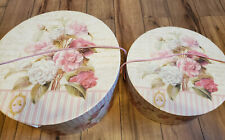 2 Floral Hat Shaped Round Boxes Or Storage Boxes 16� & 13� Diameter, stackable