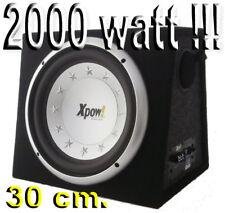 SUBWOOFER AUTO ATTIVO AMPLIFICATO 2000 WATT MAX 30 CM. con STOPPER REFLEX/CHIUSO
