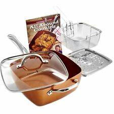 COPPER CHEF- POELE ANTI ADHESIVE MARRON - SET DE 5 PIECES- ETAT  CORRECT