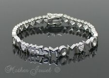 BEAUTIFUL MOTHERS DAY GIFT SIMULATED DIAMOND STERLING SILVER FILLED MUM BRACELET