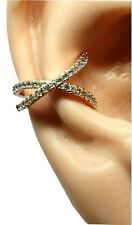 Ear Cuff Orbital Criss Cross Diamante Earring CZ Jewelry Rose Gold Non Bendable