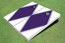 Purple And White Matching Diamond Custom Cornhole Board