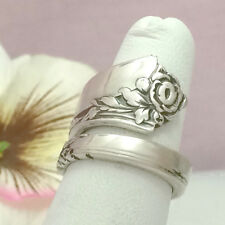 DAMASK ROSE Sterling Silver Spoon Ring Silverware Jewelry,June Flower,Custm 8-13