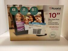 "Aluratek 10"" Slim Digital Photo Frame 8GB Built In Memory Plays Video/Music New"