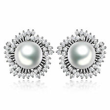 Women 18K White Gold Filled Pearl Topaz Floral Stud Earrings Valentine's Gifts