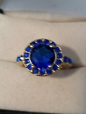 Size 6 Gold Tone Blue Sapphire Circle Ring Unisex Jewelry Dress Classy Elegant