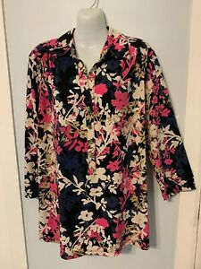 Women's Alfani Floral Multi-Color V-Neck Blouse with 3/4 Sleeves    Plus Size 2X