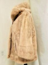 HUGE COLLAR Real MINK Ruffle Bell Cuff Sleeves FUR Cream Lined Coat JACKET M L