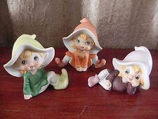 Homeco CutePorcelain Pixie Elf FigurinesSet of 3 Lot