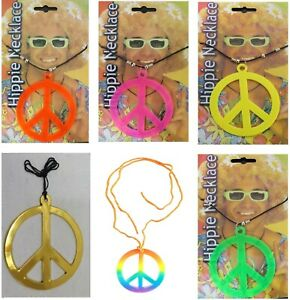 NEW ADULTS UNISEX HIPPIE PEACE SIGN NECKLACE NECKLACE FANCY DRESS ACCESSORY