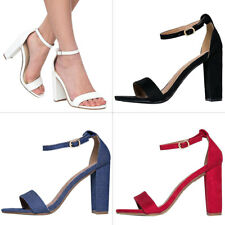 NEW Womens Classic Open Toe Ankle Strap Single Sole Pump Sandal Chunky High Heel