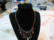 Vintage W Germany Ceramic Earring Topaz Glass Crystal Bead Necklace  Jewelry Lot