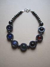Chakra Gemstones & Hematite Ring Bracelet -Sterling Silver