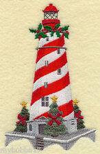 White Shoal Lighthouse (Michigan) SET OF 2 BATH HAND TOWELS EMBROIDERED BY LAURA