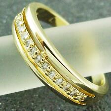 RING REAL 18K YELLOW G/F GOLD GENUINE DIAMOND SIMULATED LADIES ANTIQUE DESIGN 7