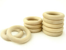 Natural Eco Toy Wooden Rings - Set of 10 Organic Teething Rings - 2 1/3in. 60mm.