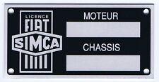 Plaque constructeur FIAT SIMCA - FIAT SIMCA vin plate