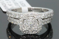 10K WHITE GOLD 2 CARAT WOMENS REAL DIAMOND ENGAGEMENT RING WEDDING BAND SET