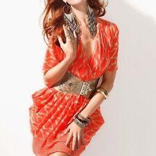 NWT Bebe orange coral double v neck wrap kimono sheer top dress XXS X XS 0 sexy