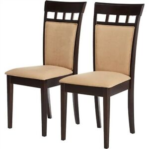 2-Piece Dining Chair Set In Cappuccino Finish