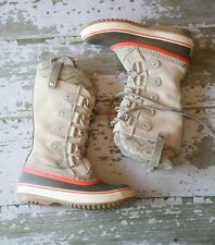 SOREL Womens JOAN of ARCTIC KNIT Gray Suede Leather Winter Snow Boots US 6 EU 37