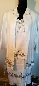 Norton McNaughton Women's 3-pc 100% Linen White Skirt Set (Size 6/Small/Med)