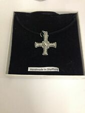 Medieval Cross DCPP Pewter Pendant on a Black Cord Necklace