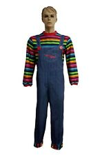 Mens Halloween Killer Doll Fancy Dress Costume Adult Horror Chucky Style Outfit