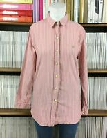 JACK WILLS 10 Top Shirt Cotton Pink Stripe Casual Button Down Fitted Womens