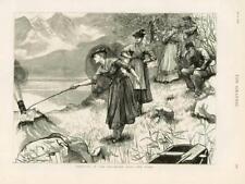 1876 antica stampa-Germania Baviera Alpi turisti Echo Donna PISTOLA FUOCO (184)