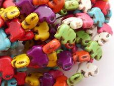 1 Strand Dyed Howlite Elephant Beads 15mm Mixed Colours Semiprecious Gemstones