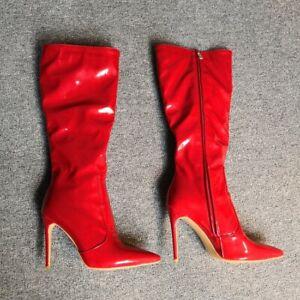 Red Bridal Wedding Ladies Pointy Toe High Heel Side Zip Knee High Boots 4.5-12.5