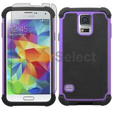 NEW Hybrid Rubber Case+LCD Screen Protector for Phone Samsung Galaxy S5 Purple