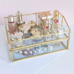 Luxury Clear Glass Keepsake Box, Cosmetic Display Organizer Vanity Case Home