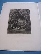 """BELLE ET RARE EAU-FORTE """"LA VIE DE CHATEAU"""" 1845 Signé LOUIS MARVY ROMANTISME"""