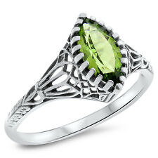 GENUINE PERIDOT ANTIQUE VICTORIAN DESIGN 925 STERLING SILVER RING SIZE 9,#692