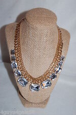 """Necklace COSTUME JEWELRY Gold Tone Chain 18"""" CLEAR RHINESTONE BEADS Lt Weight"""