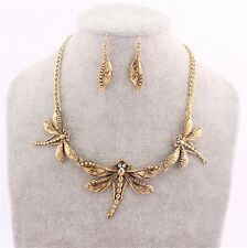 Charm Dragonfly Statement Chunky Choker Necklace for Women Fashion Jewelry Gold